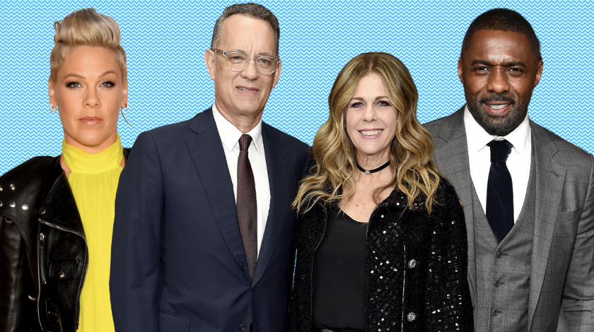 celebs with coronavirus: pink, tom hanks, rita wilson, idris elba