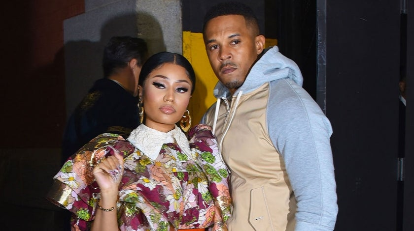 Nicki Minaj and Kenneth Petty at a Marc Jacobs NYFW event in February 2020 in New York City
