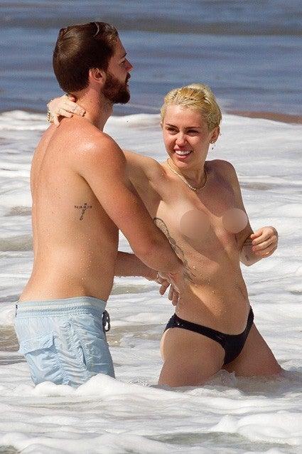 patrick schwarzenegger miley cyrus beach