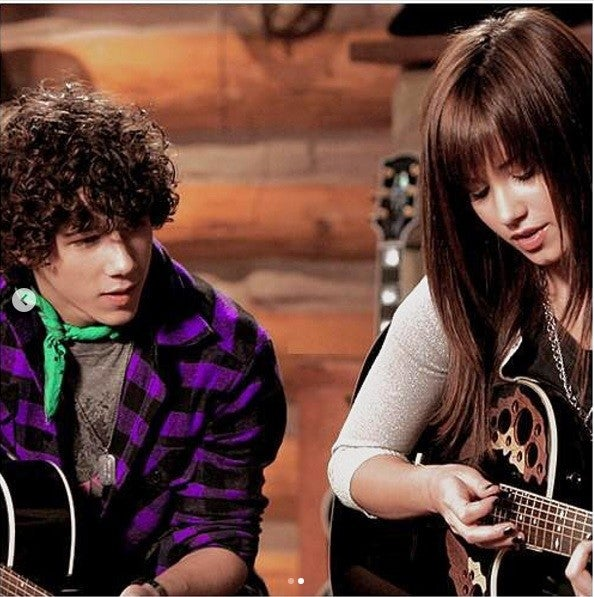 Instagram of Camp Rock still with Nick Jonas and Demi Lovato