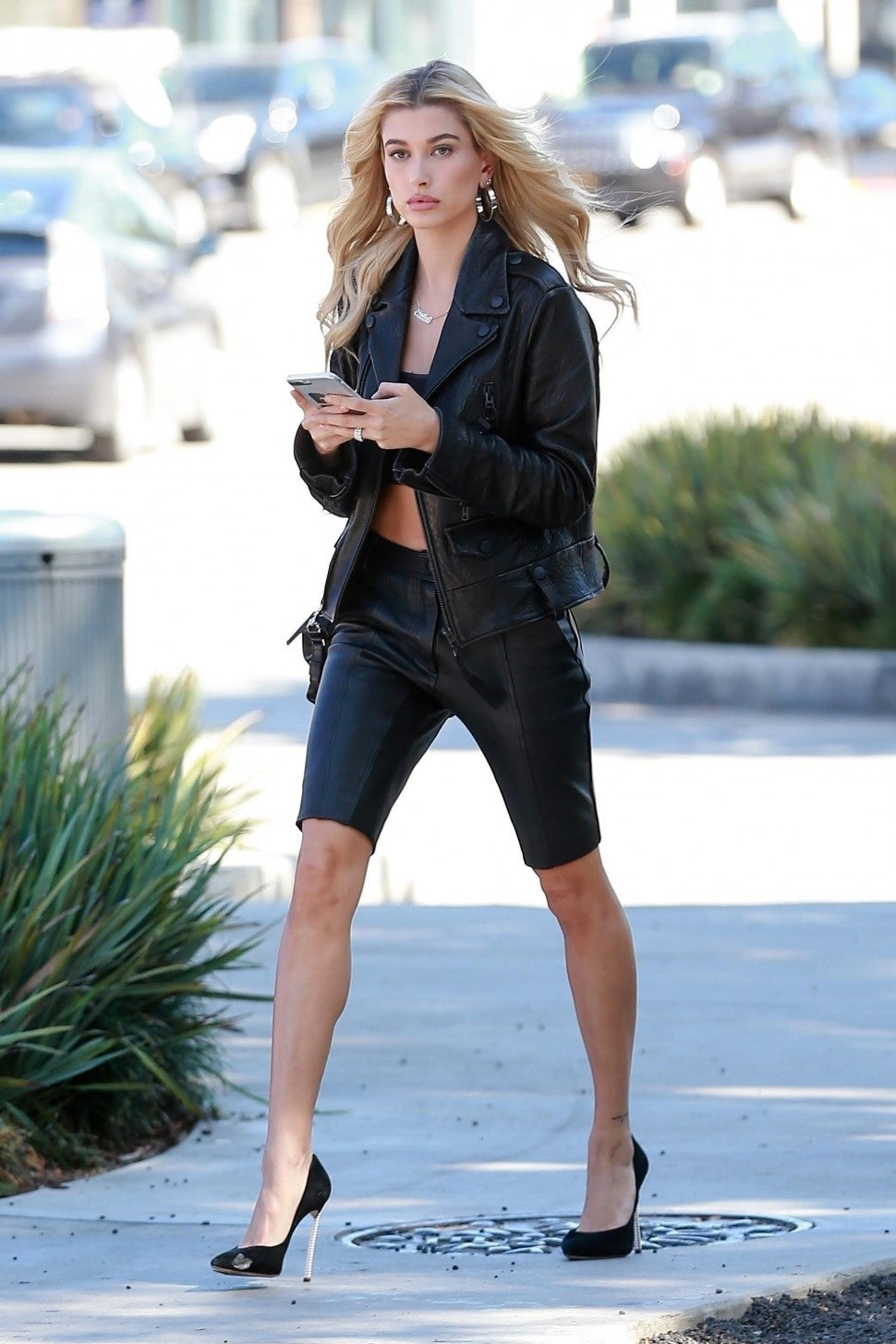 Hailey Baldwin in leather outfit
