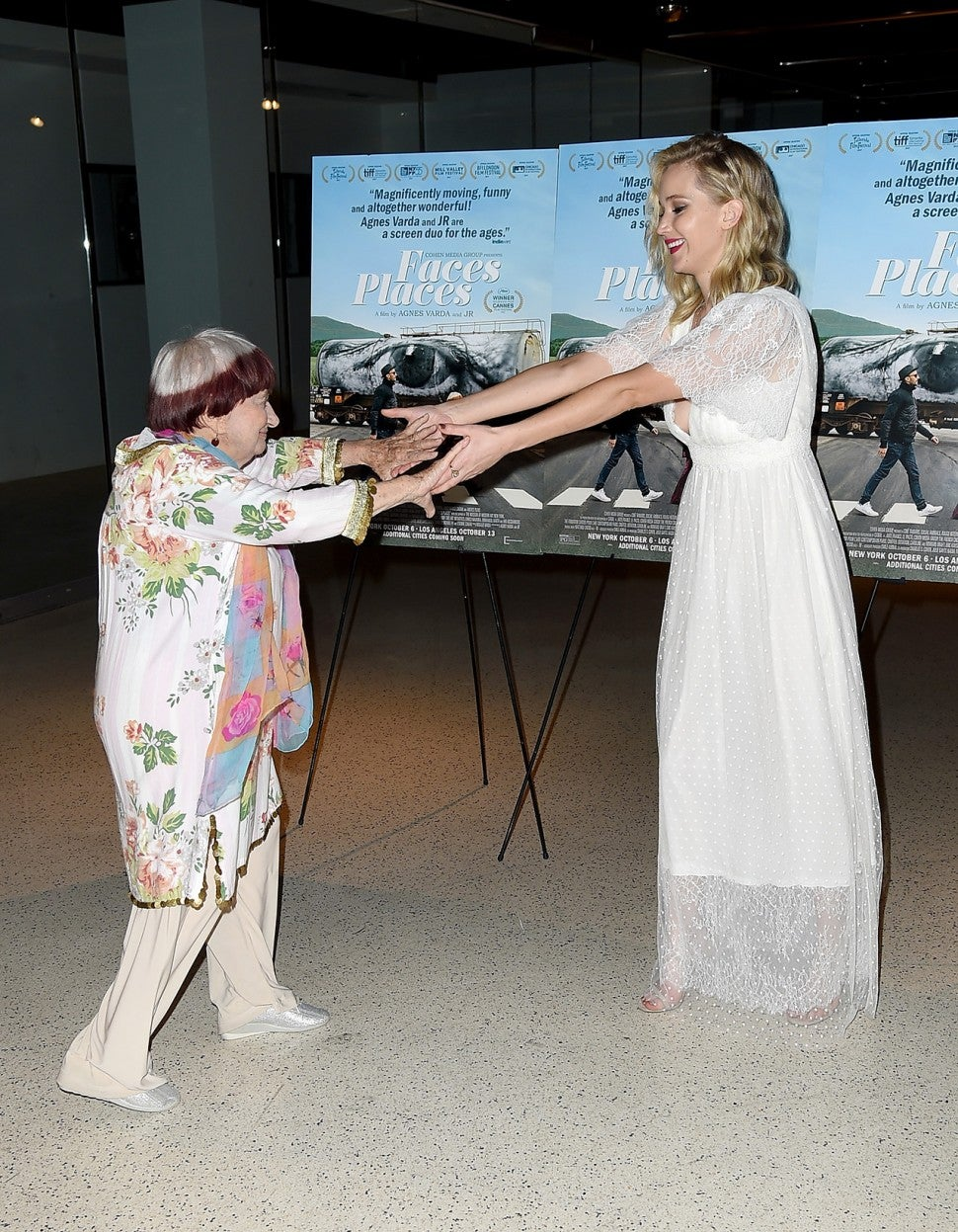 Jennifer Lawrence dances with Agnes Varda