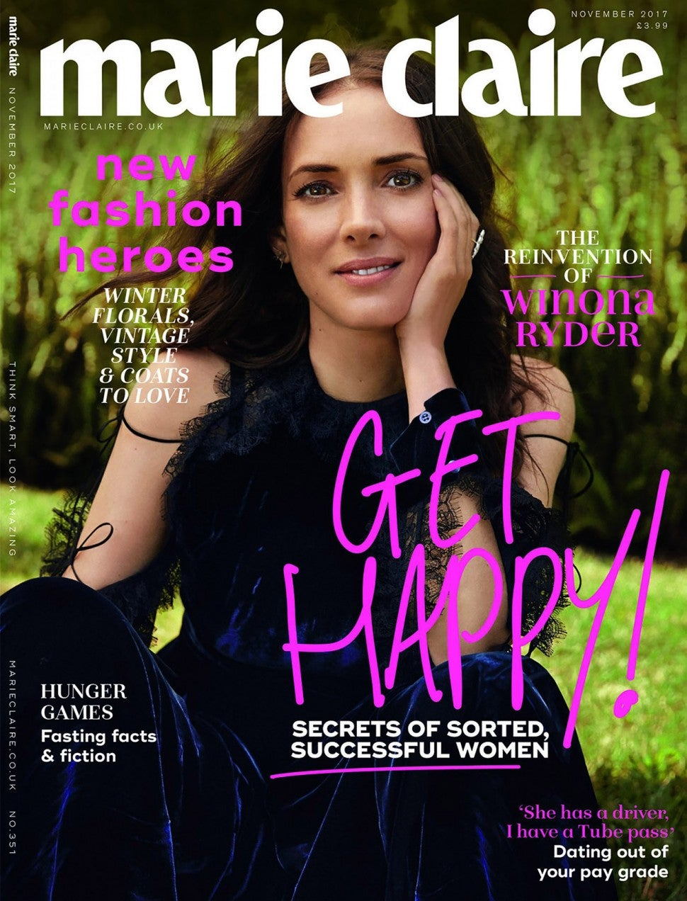 Winona Ryder on Marie Claire UK