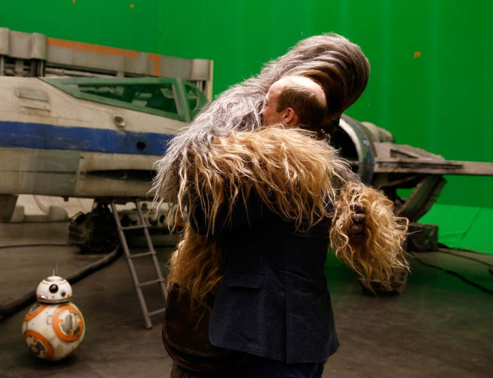 Prince William Hugs Chewbacca on the set of 'Star Wars: The Last Jedi'