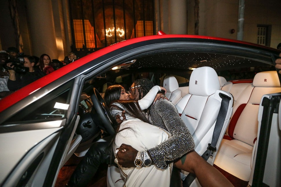 Cardi B and Offset in Rolls Royce
