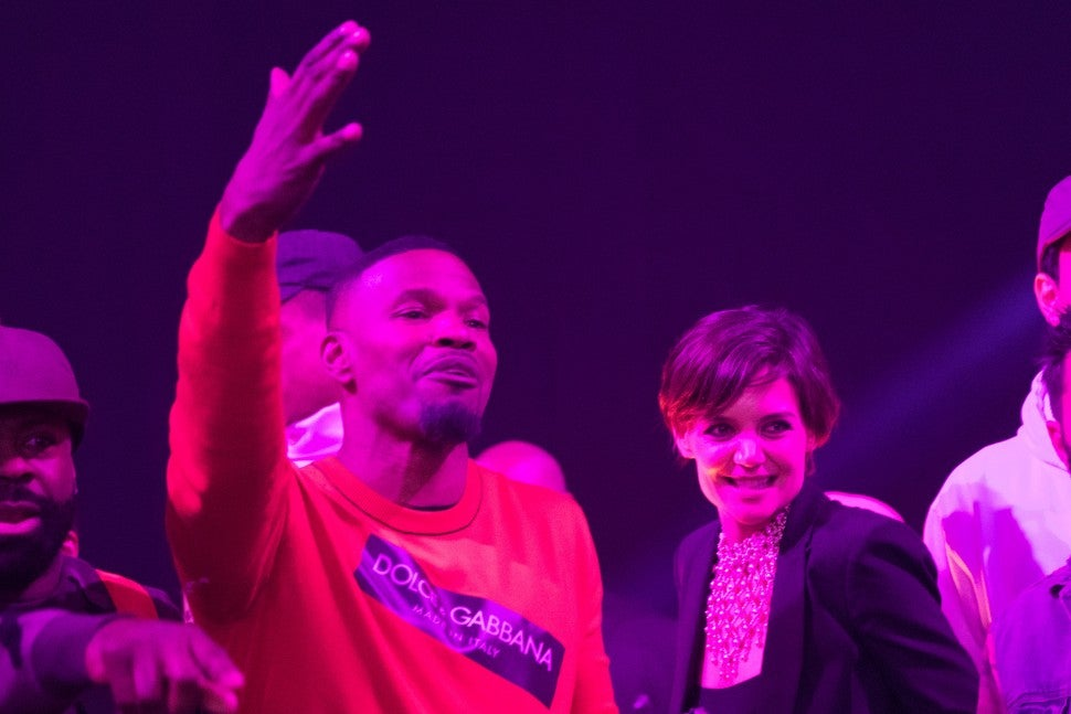 Jamie Foxx and Katie Holmes at Foxx's birthday party