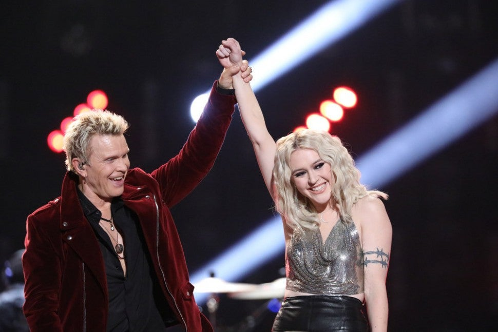 Chloe Kohanski and Billy Idol on The Voice finale