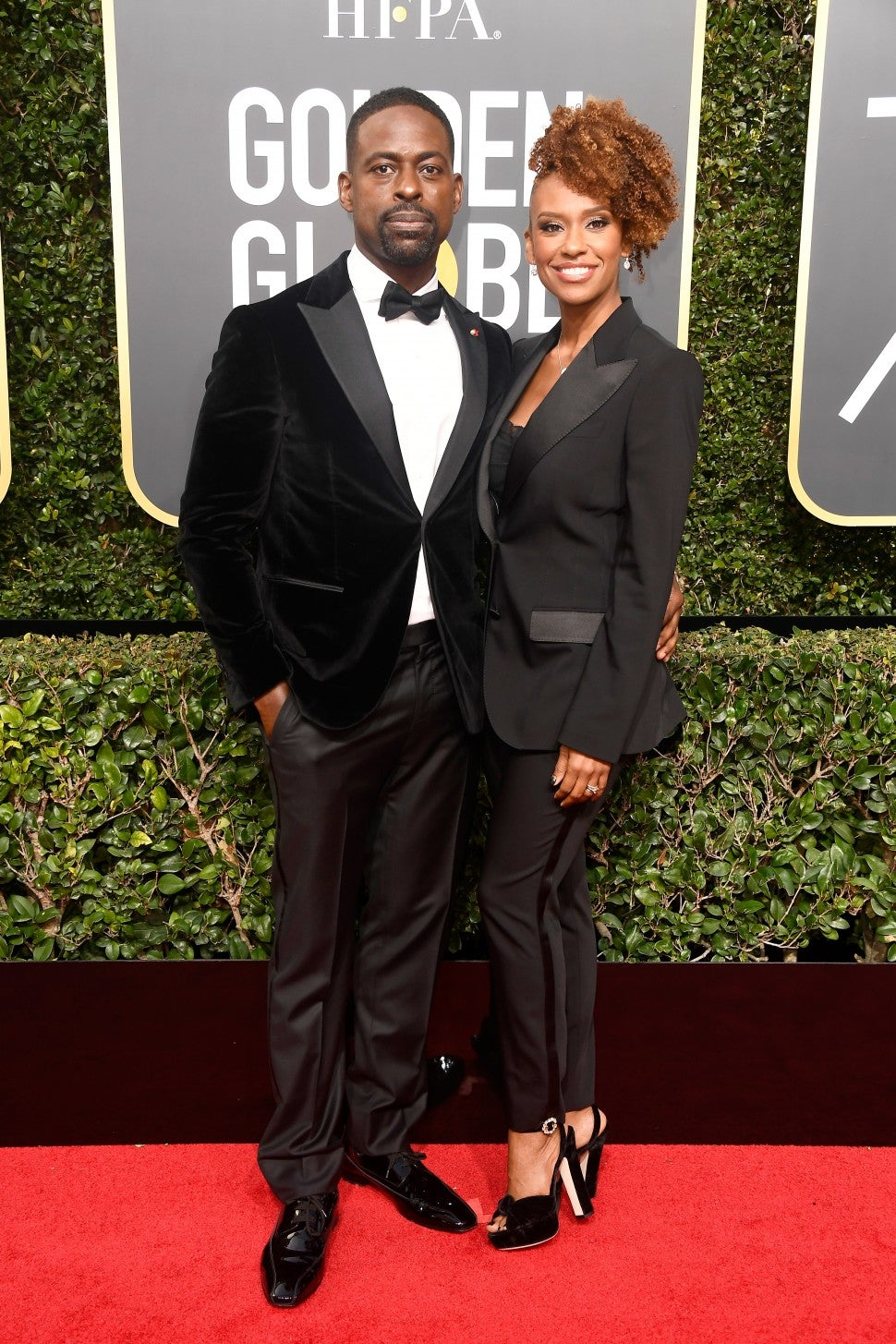 Sterling K Brown and wife at 2018 Golden Globes
