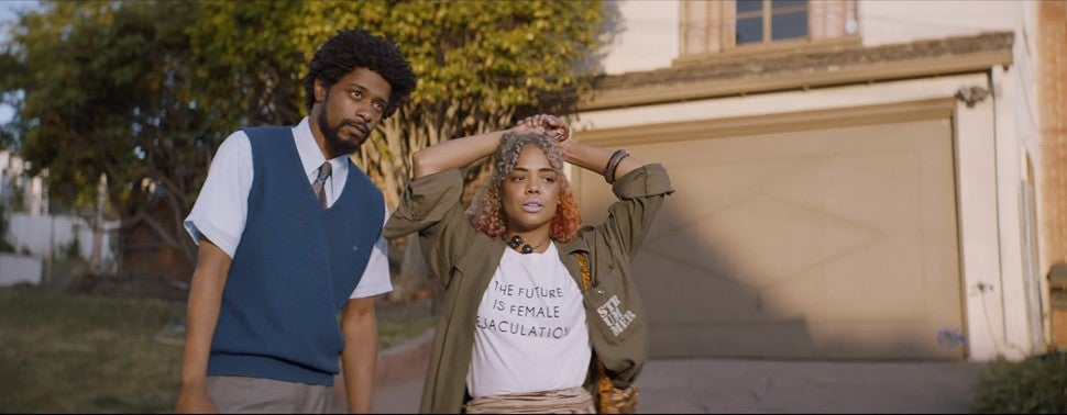 Sorry to Bother You, Tessa Thompson, Lakeith Stanfield
