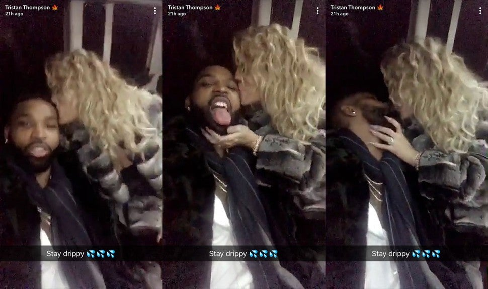 Tristan Thompson and Khloe Kardashian NYE PDA