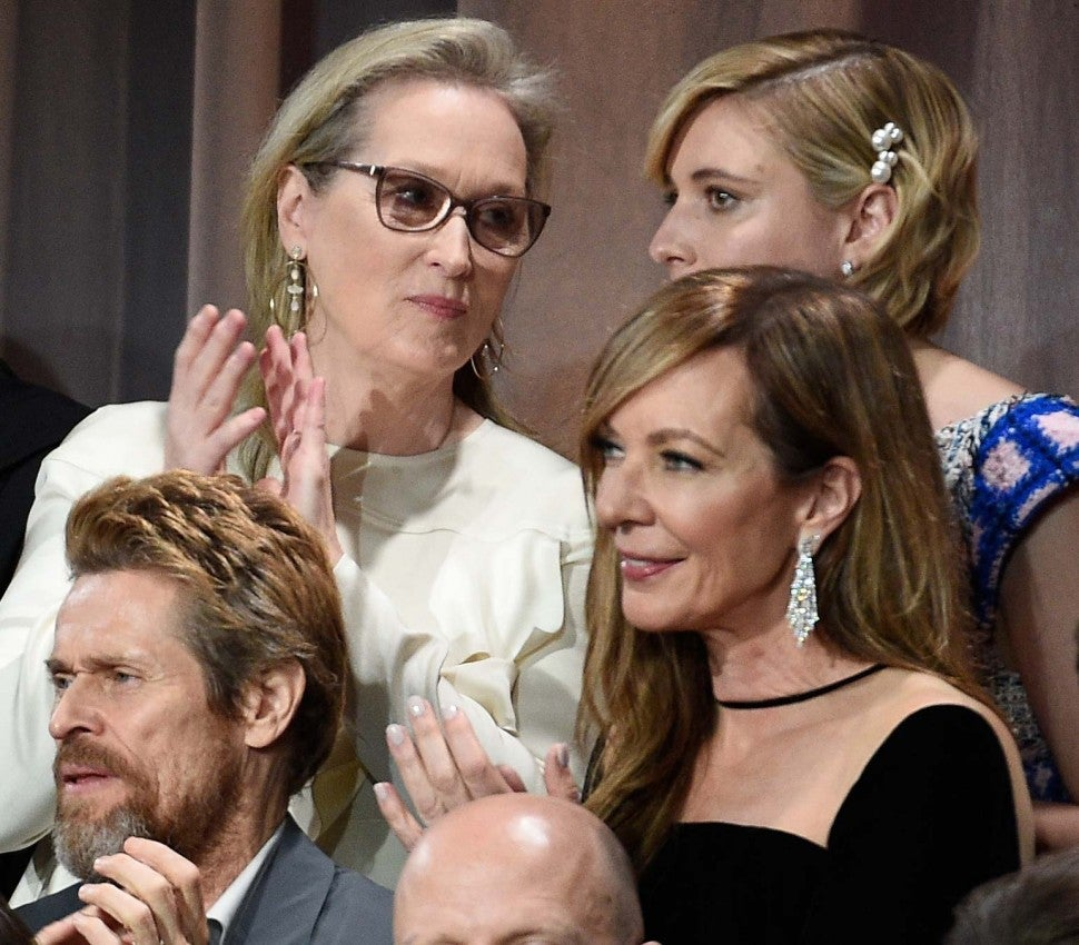 Allison Janney, Willem DeFoe and Meryl Streep at the 2018 Oscars Nominee Luncheon