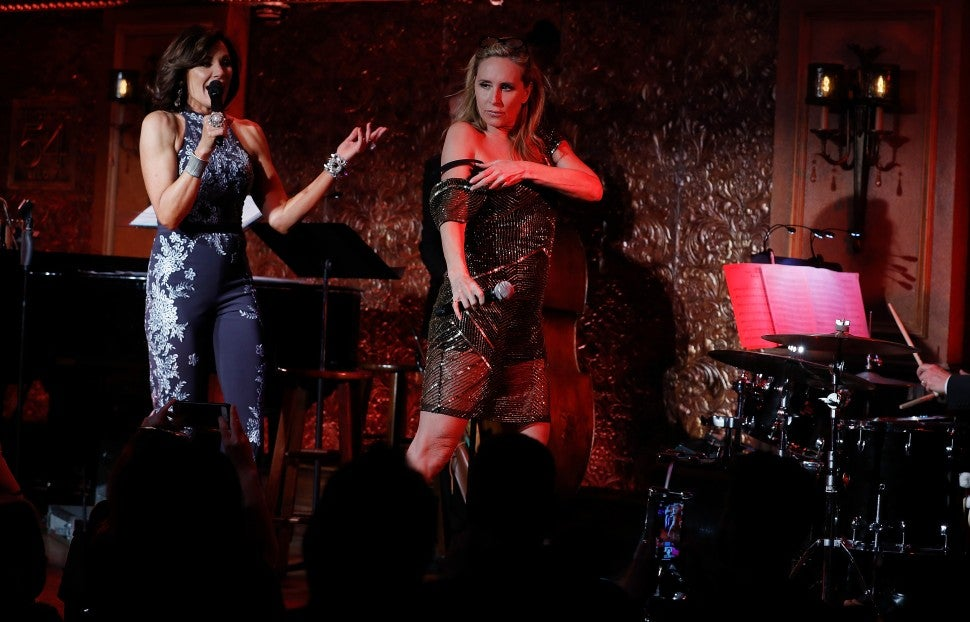 Luann de Lesseps and Sonja Morgan during her cabaret debut in NYC on Feb. 27.