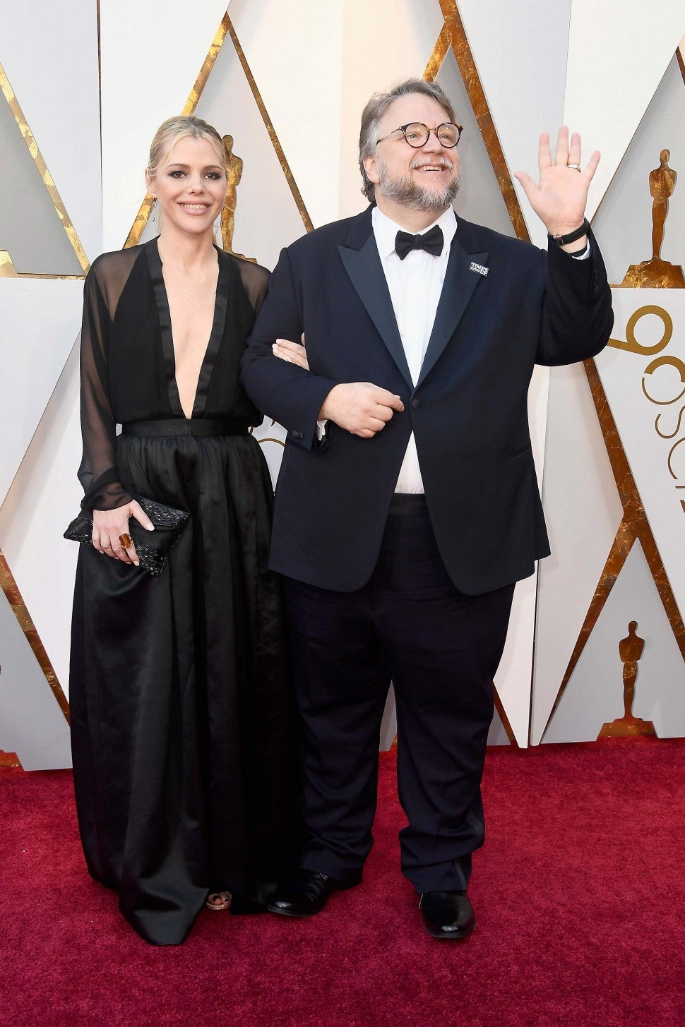 Kim Morgan and Guillermo del Toro at the 90th Annual Academy Awards