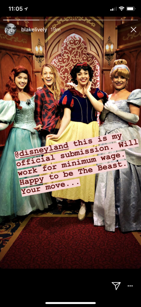 Blake Lively poses with princesses at Disneyland.