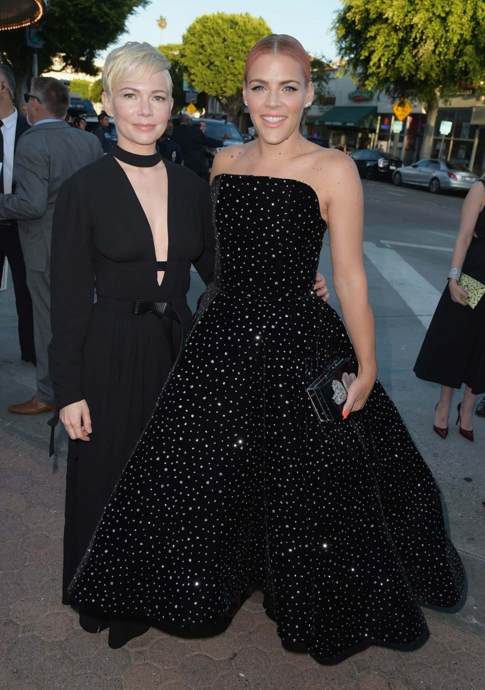 Busy Philipps and Michelle Williams at the premiere of 'I Feel Pretty' in LA on April 17
