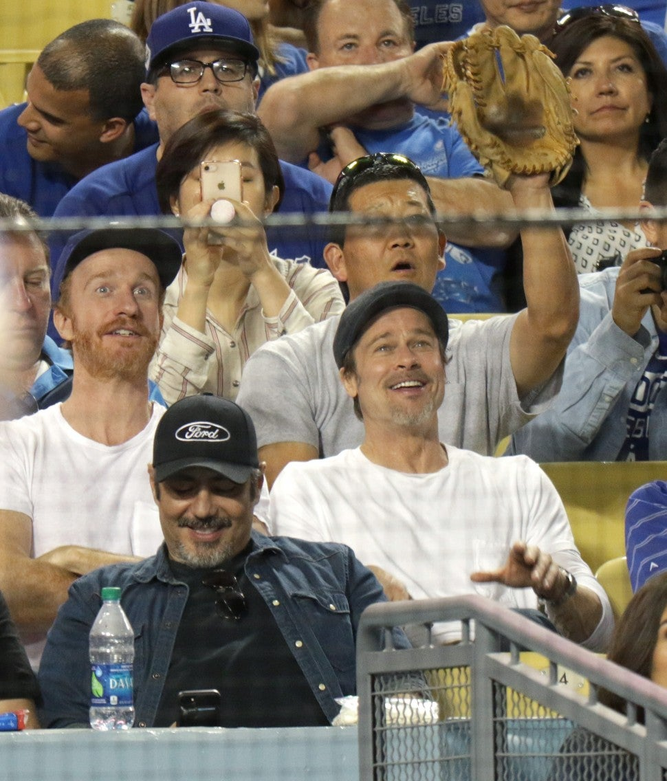 Brad Pitt at Dodgers game