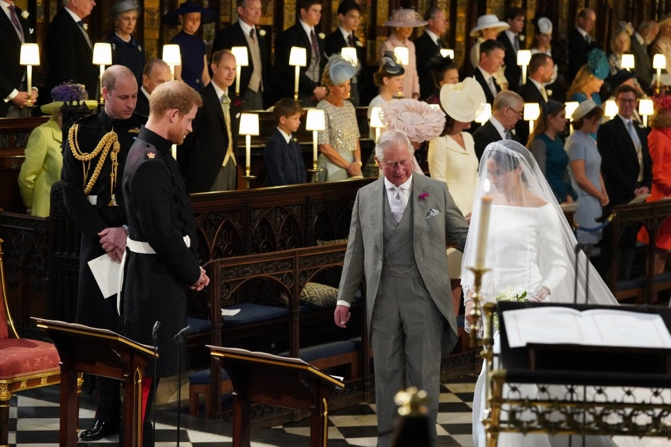 Prince Harry, Prince Charles and Meghan Markle at altar