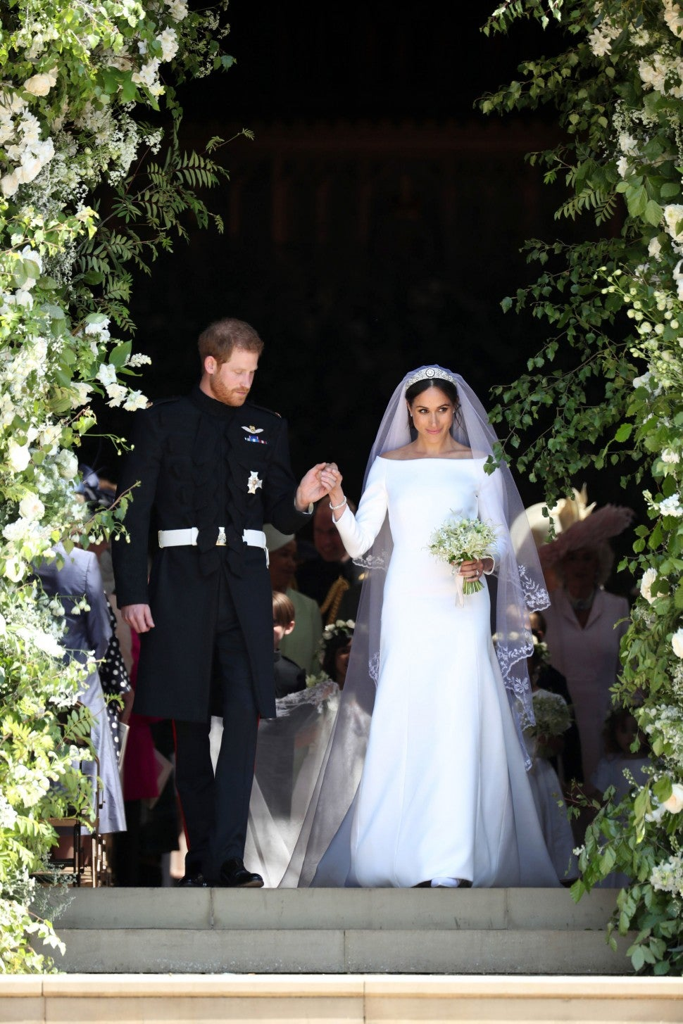 Prince Harry and Meghan Markle outside the chapel