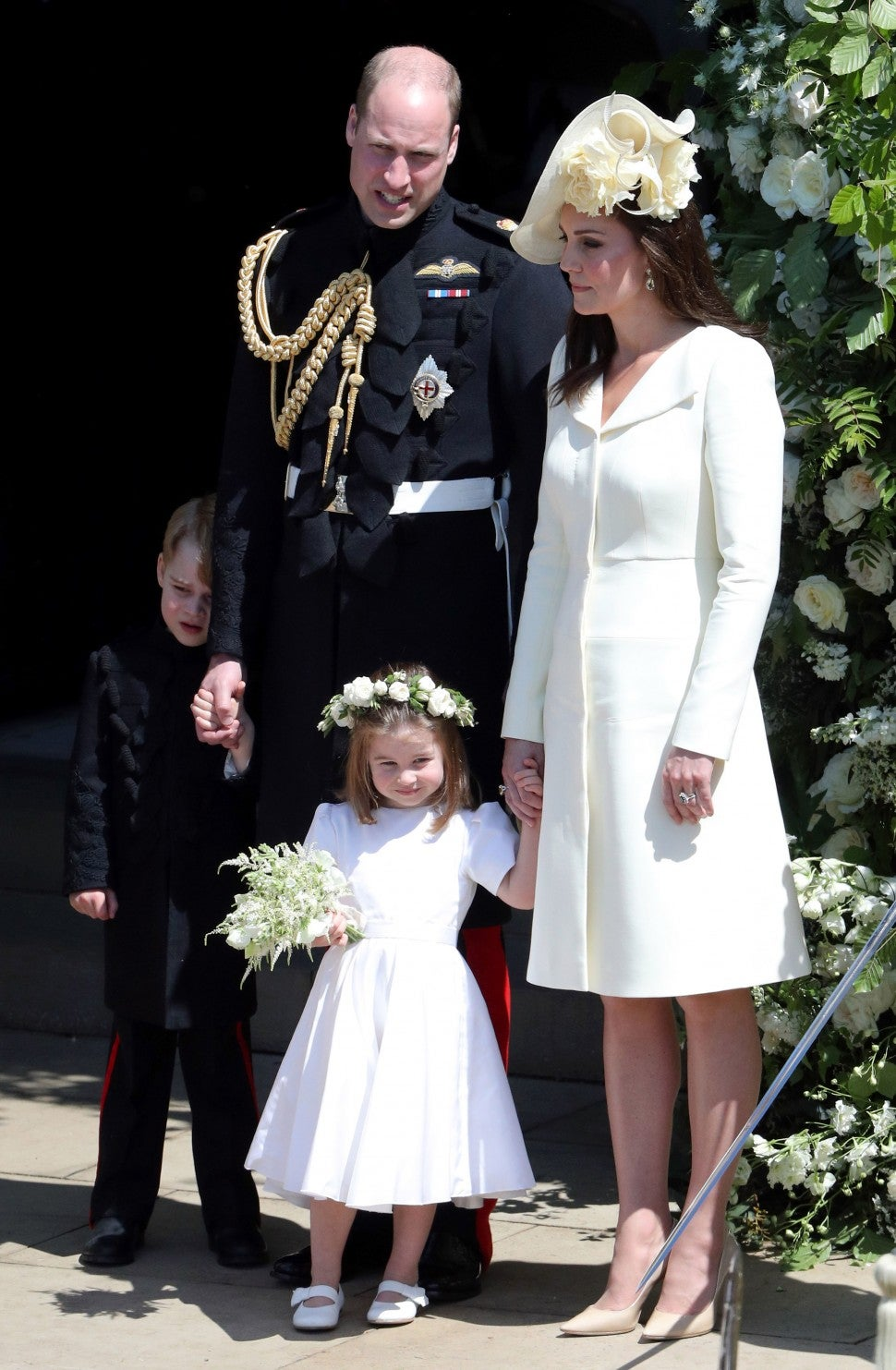 prince william, kate middleton, prince george & princess charlotte at prince harry's wedding