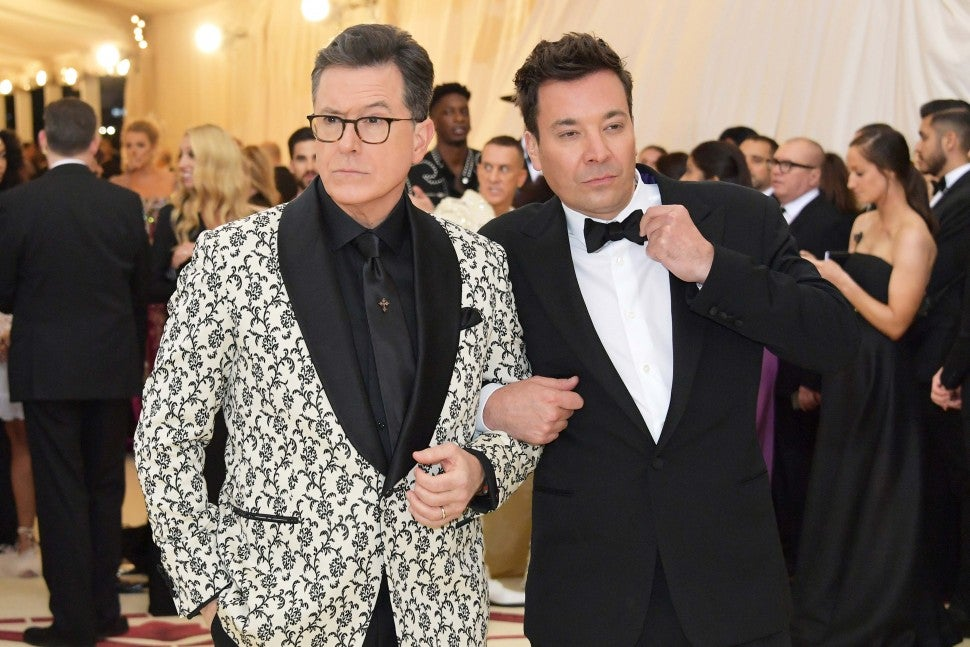 Stephen Colbert and Jimmy Fallon at the 2018 Met Gala in New York