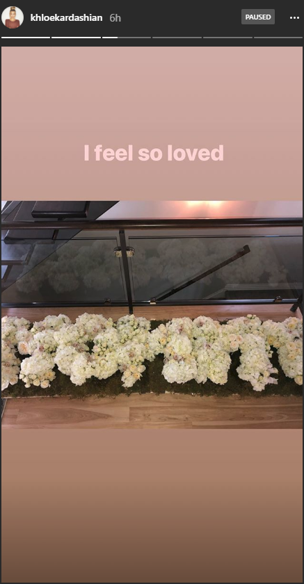 Khloe Kardashian posts an Instagram story of her Mother's Day gifts.