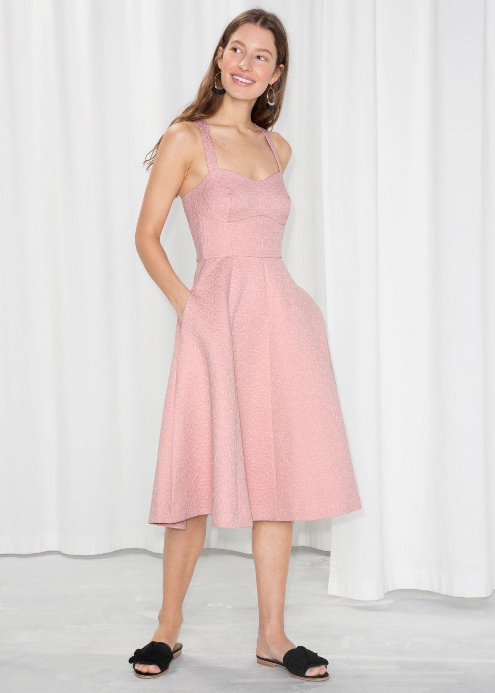 & Other Stories pink flared dress