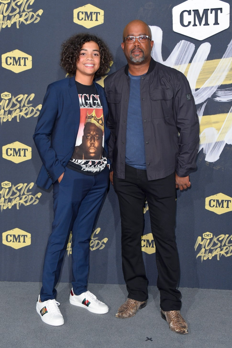 Darius Rucker and son Jack attend the 2018 CMT Music Awards at   Bridgestone Arena on June 6, 2018 in Nashville, Tennessee.