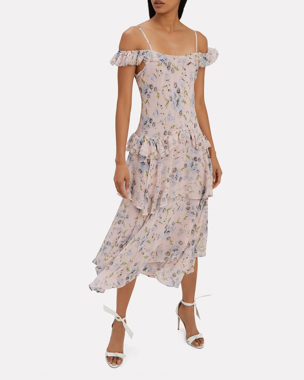 LoveShackFancy floral off-the-shoulder dress