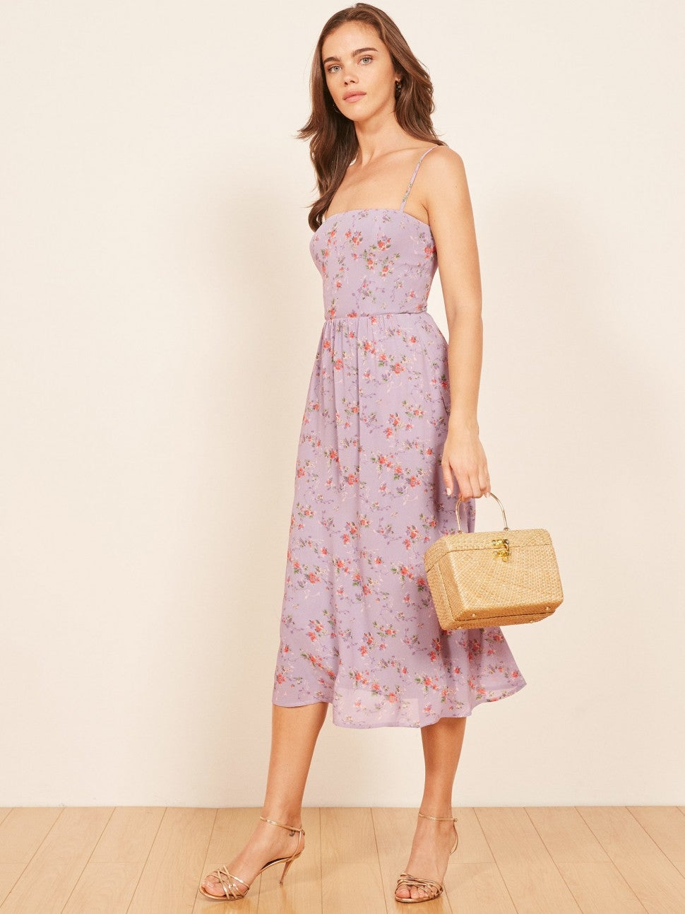 Reformation purple floral flared dress