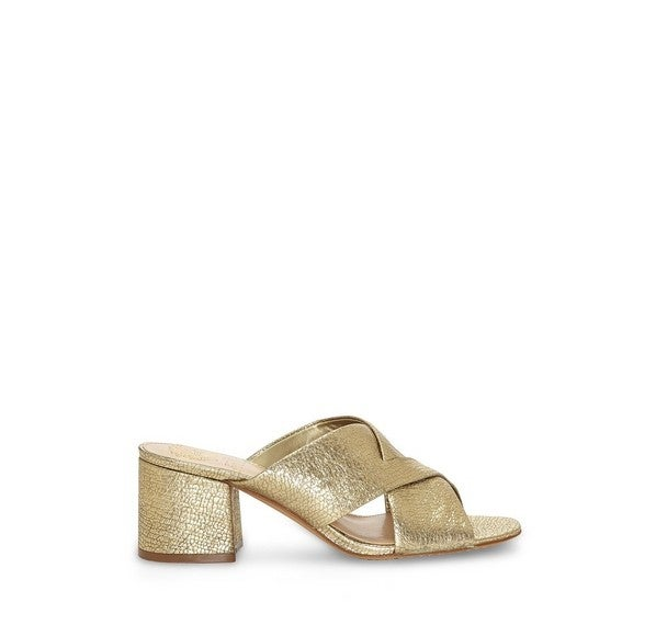 Vince Camuto gold mules