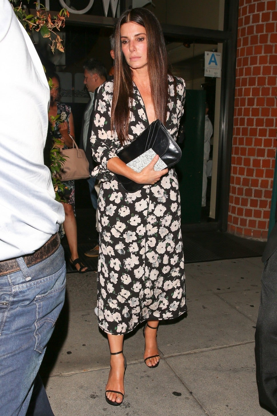 Sandra Bullock birthday dinner in floral dress
