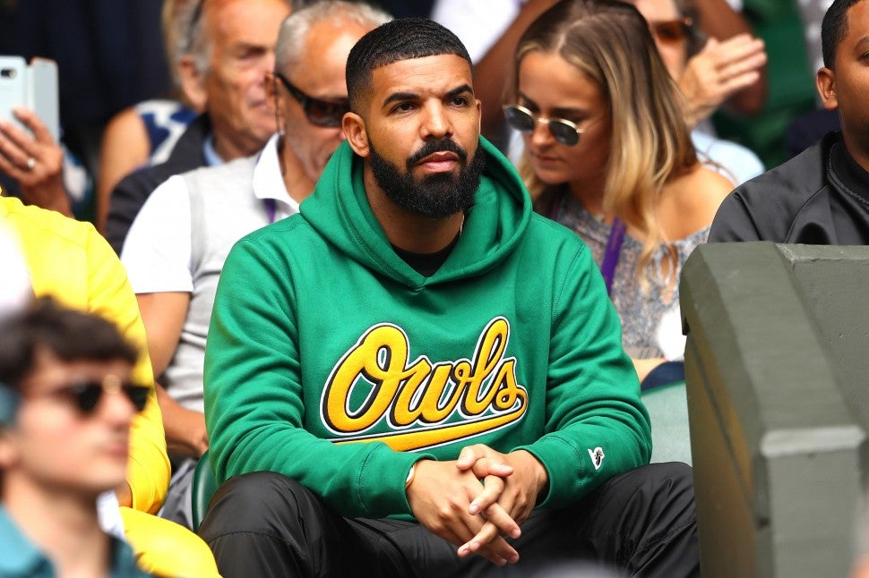 Drake attends day eight of the Wimbledon Lawn Tennis Championships at All England Lawn Tennis and Croquet Club on July 10, 2018 in London, England.
