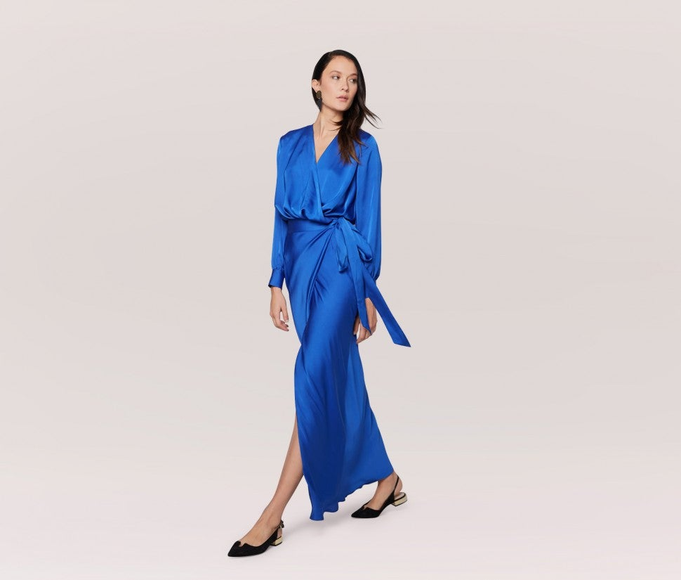 Fame and Partners blue satin wrap dress