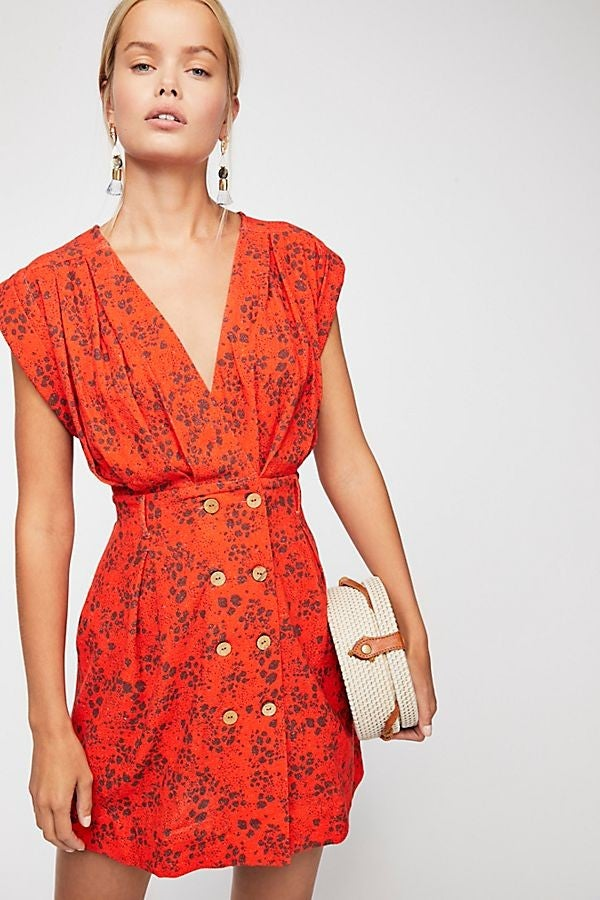 Free People Into Town Printed Mini Dress