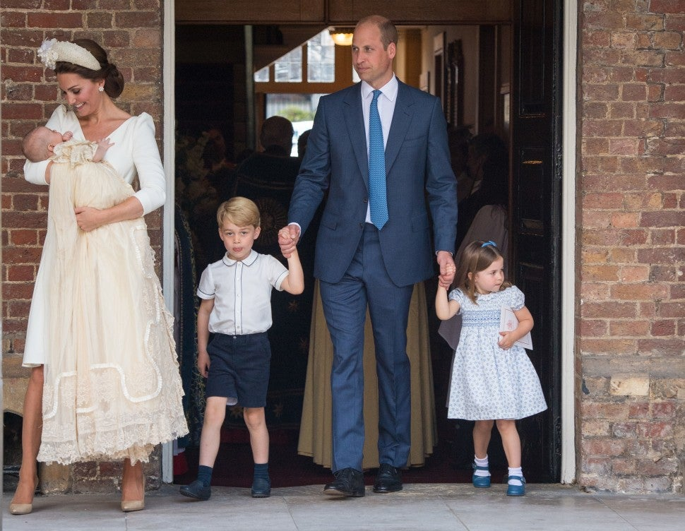 Catherine Duchess of Cambridge and Prince William, Duke of Cambridge with their children Prince George, Princess Charlotte and Prince Louis
