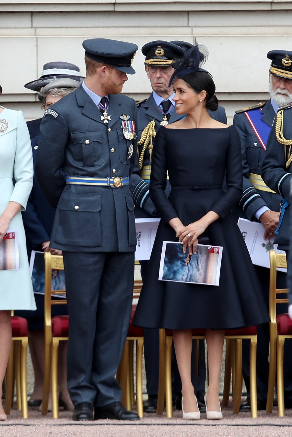 Meghan Markle in black Dior dress with Prince Harry