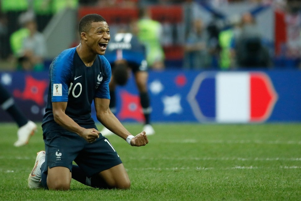 French player celebrating world cup win