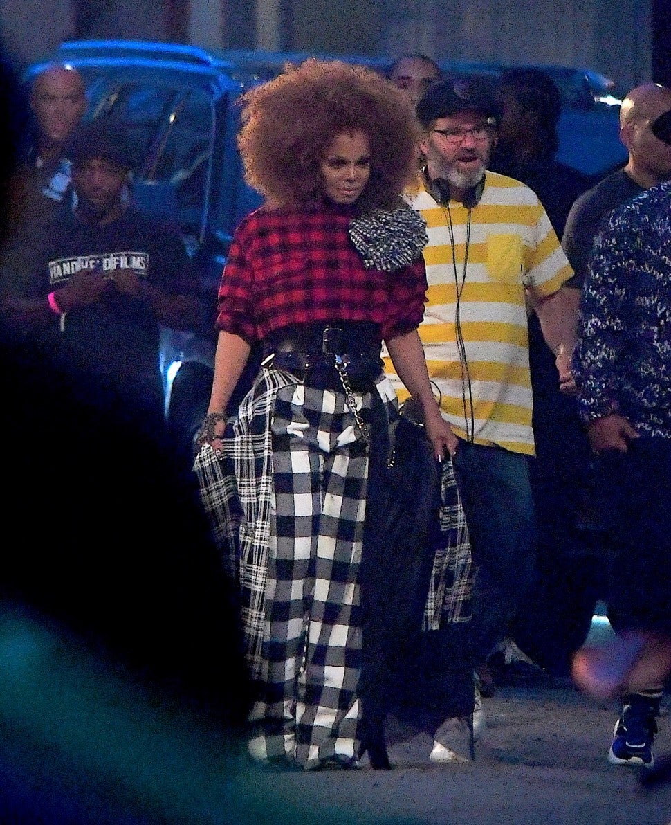 Janet Jackson films a music video in Brooklyn, New York.
