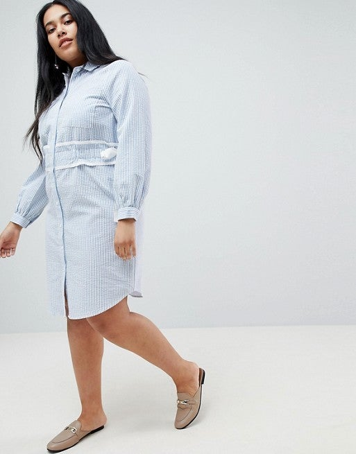 Lost Ink Plus Shirt Dress in Stripe With Waist Detail