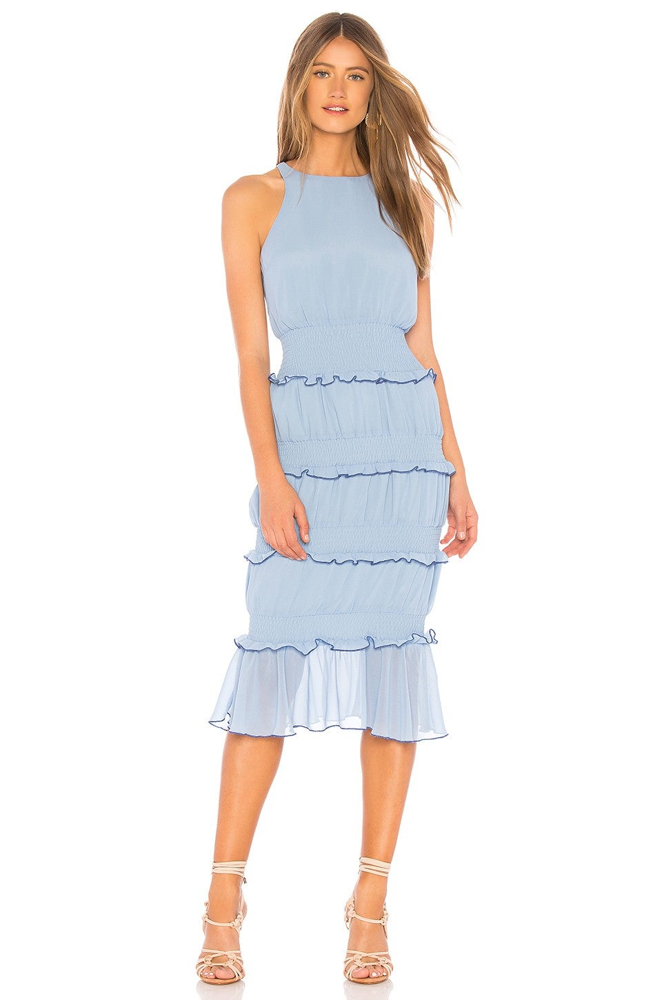 Lovers + Friends tiered ruffled blue dress