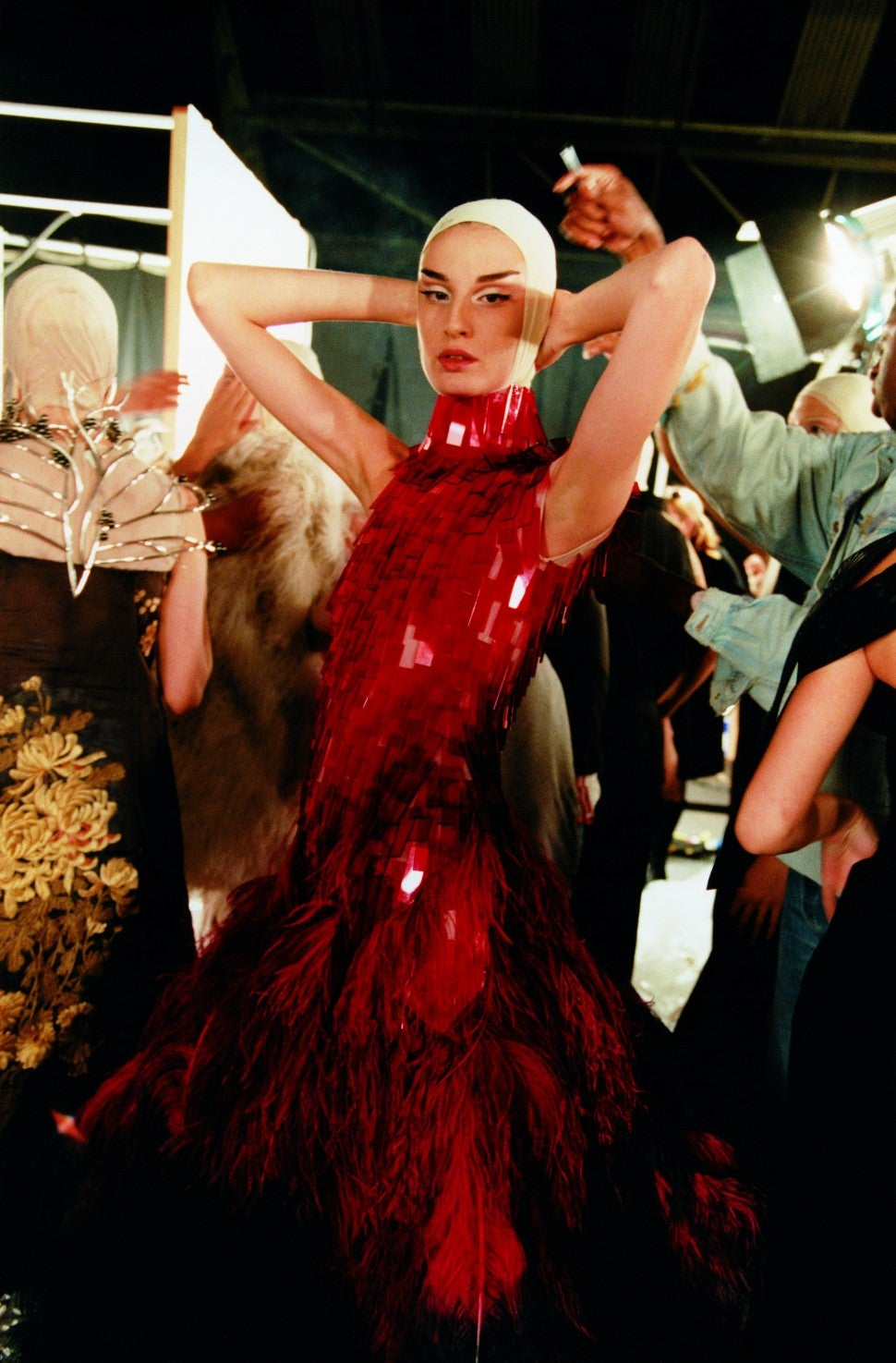 Alexander McQueen Spring/Summer 2001 Voss Show red dress