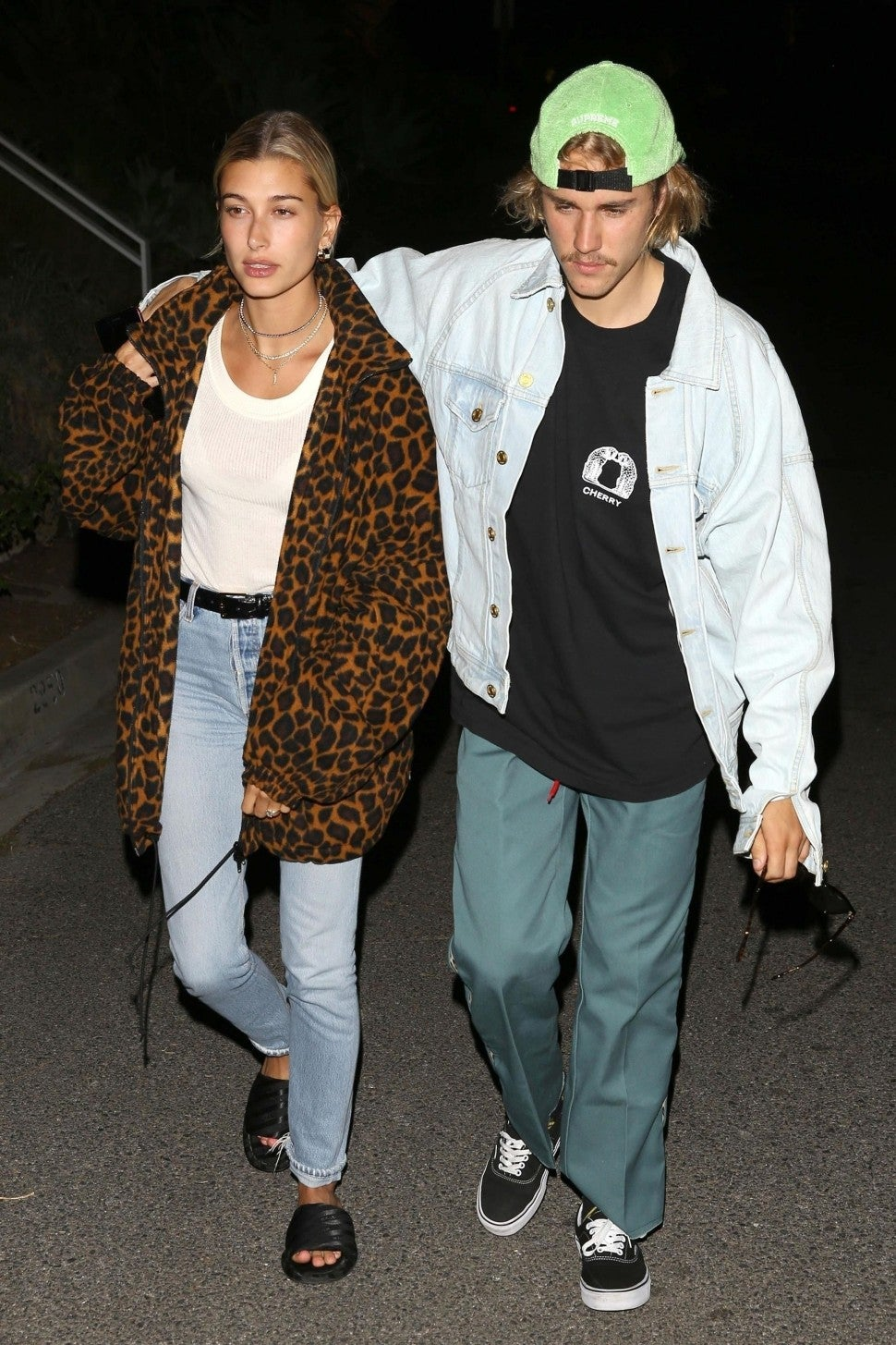 Hailey Baldwin in leopard jacket and Justin Bieber