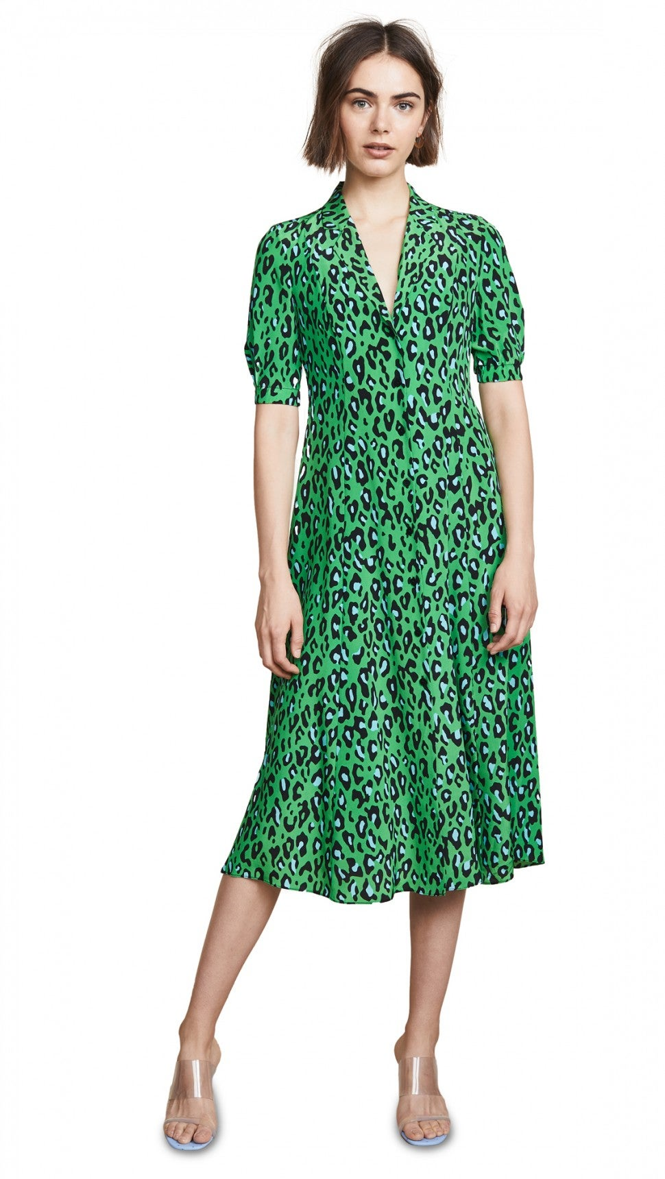 Diane von Furstenberg green leopard print dress