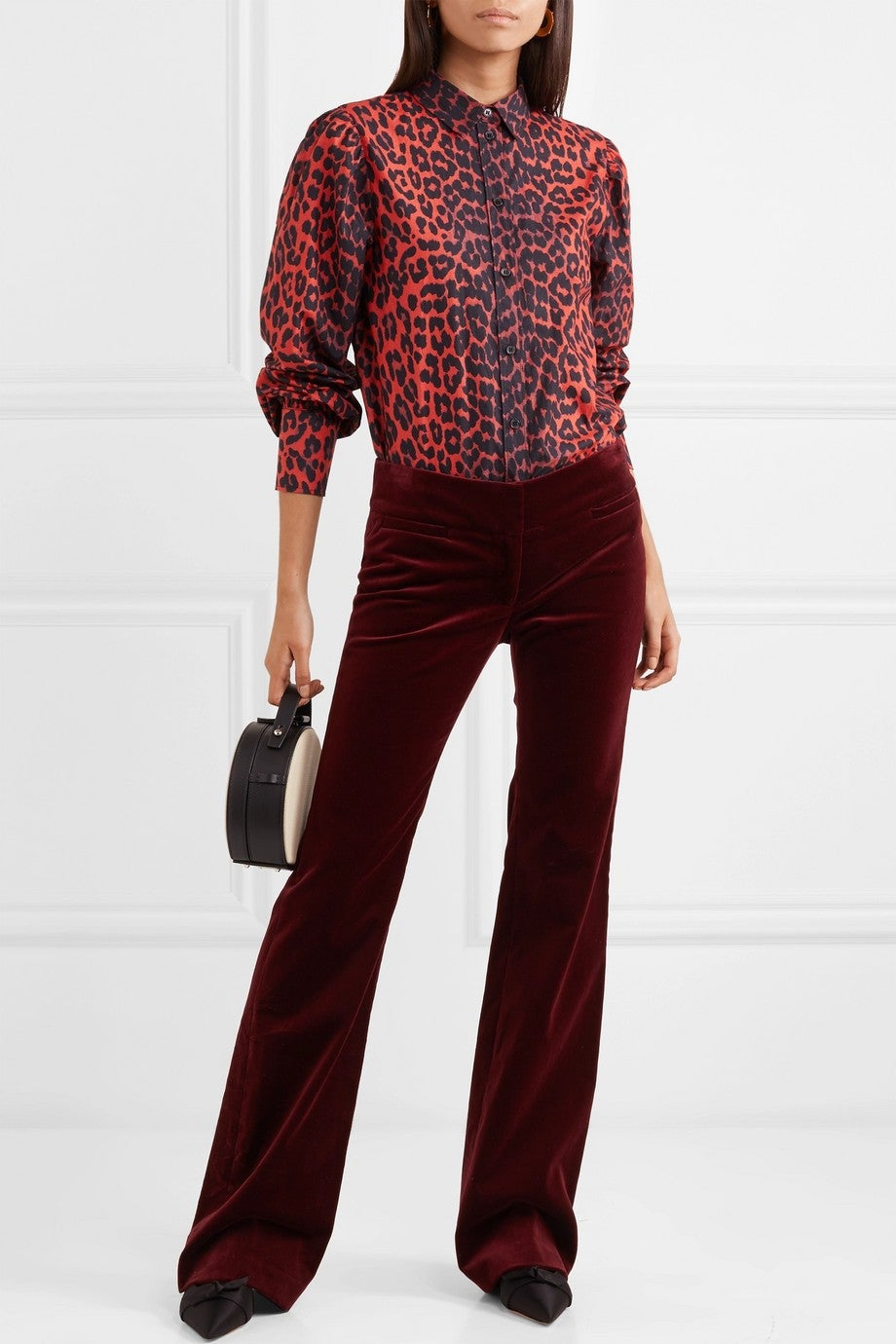 Ganni red leopard print shirt