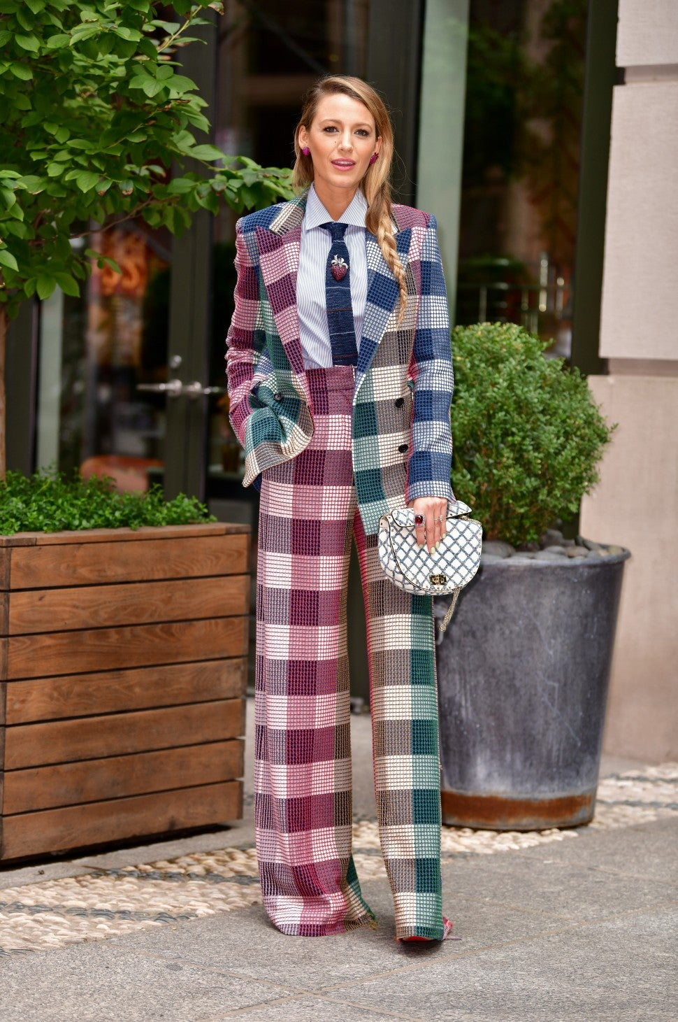 Blake Lively colorful check pantsuit