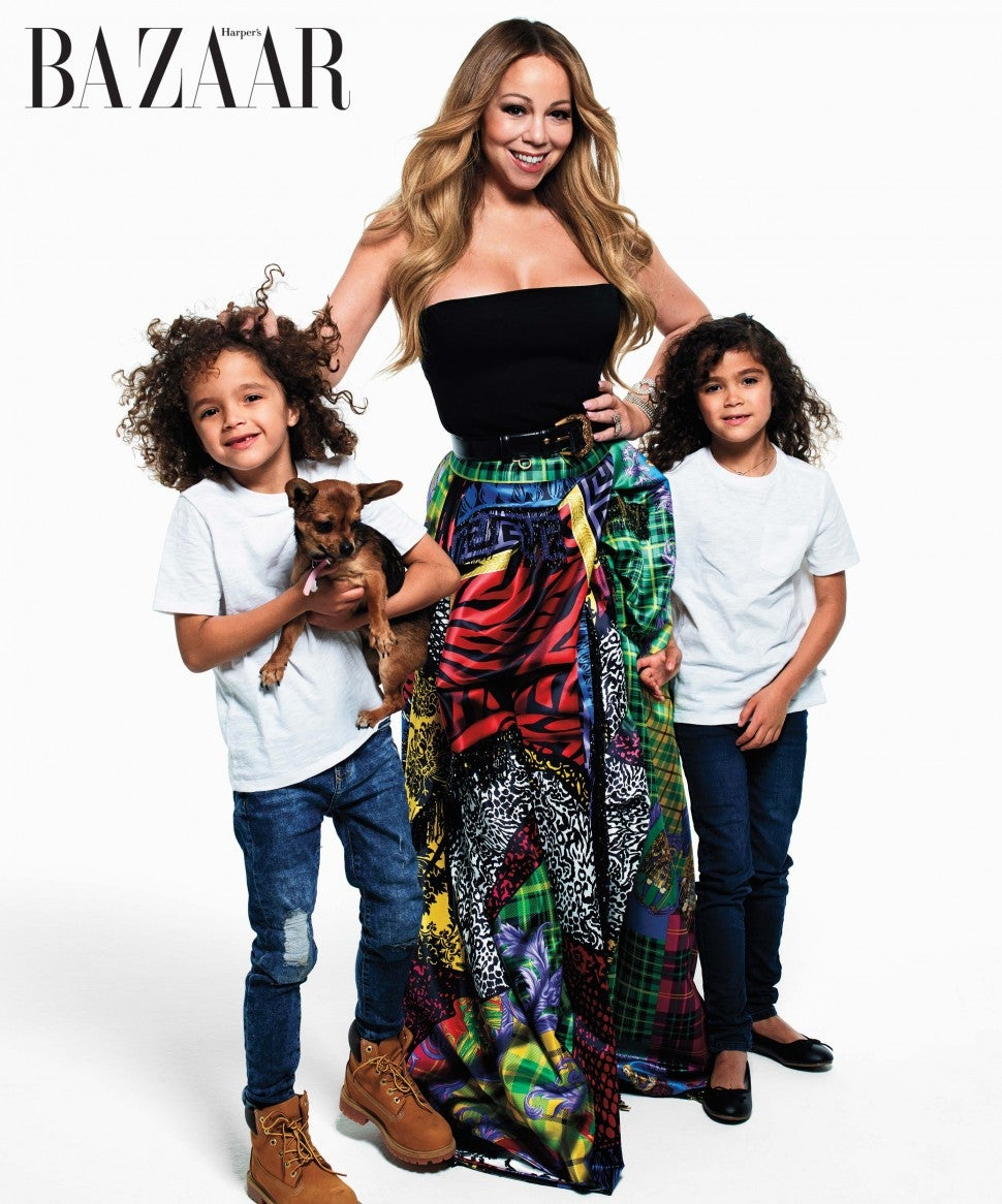 Mariah Carey and her twins, Moroccan and Monroe, for 'Harper's Bazaar'