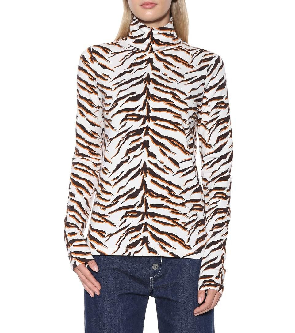 Mih Jeans tiger print turtleneck