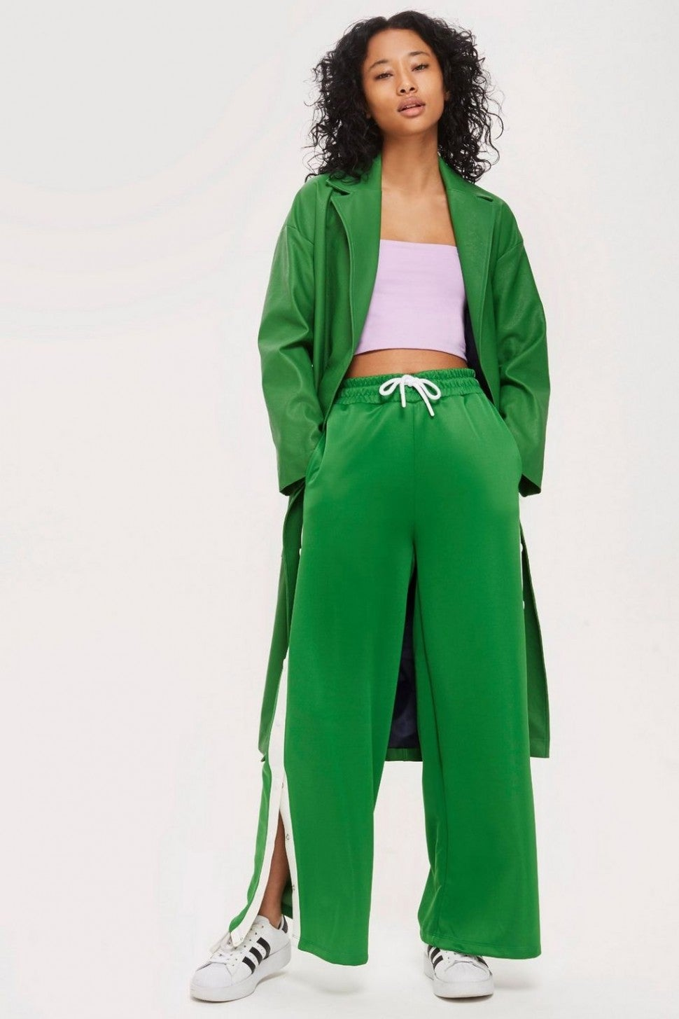 Topshop wide leg green satin track pant