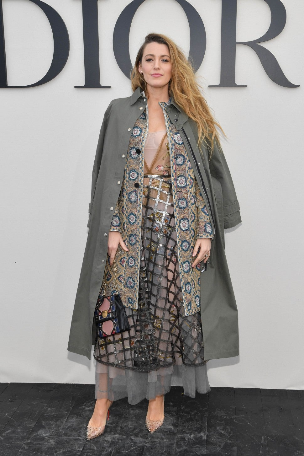 Blake Lively at Dior show in two coats