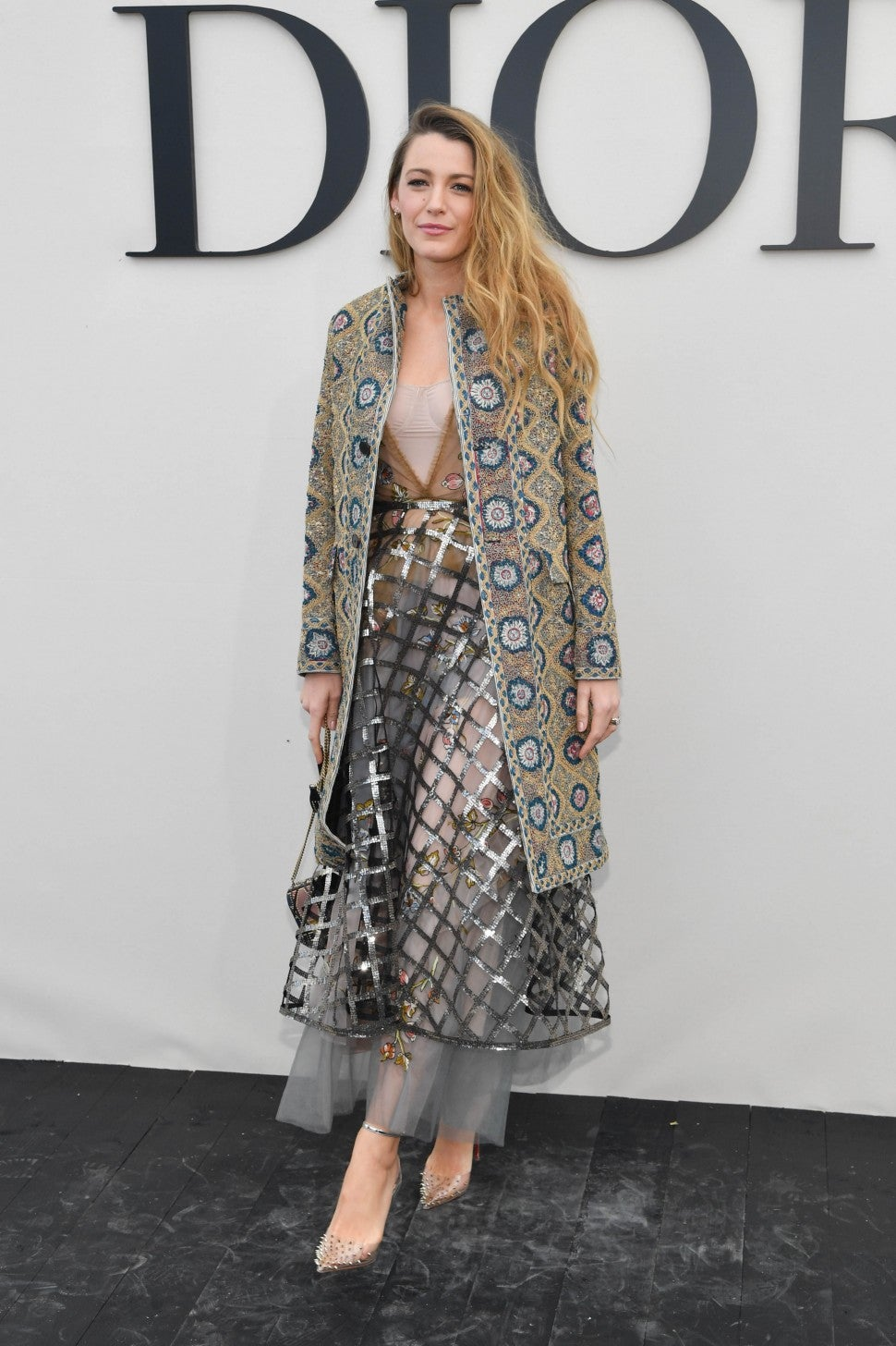 Blake Lively at Dior in coat